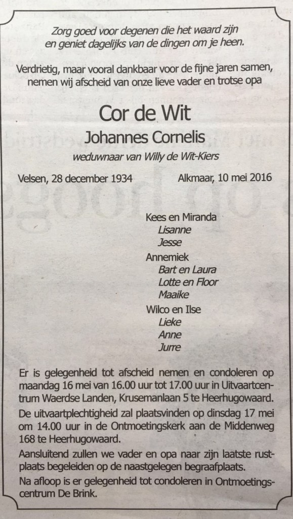in memoriam cor de wit
